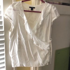 White Gap wrap shirt with lace detailing